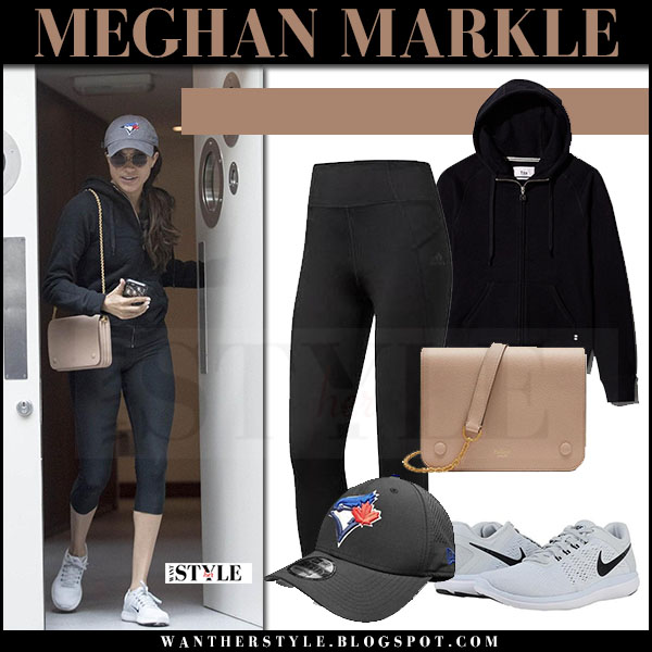 Meghan Markle in black hoodie, black capri adidas leggings and white sneakers nike flex rn what she wore may 19 2017 london