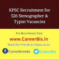 KPSC Recruitment for 526 Stenographer & Typist Vacancies