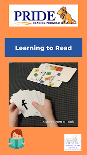 PRIDE Reading Program Logo; A Mom's Quest to Teach logo; clipart of girl reading; cards from PRIDE Reading Program