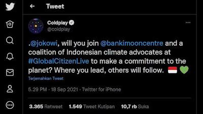 Ramai di Twitter, Coldplay Ajak Jokowi Gabung Global Citizen Live