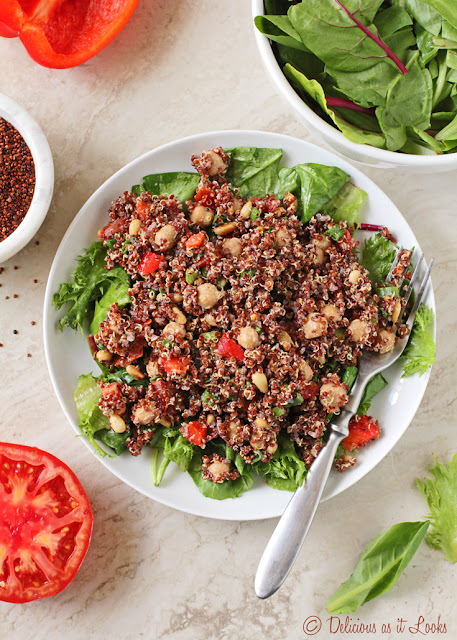 Low-FODMAP, Vegan Scarlet Quinoa Salad with Chickpeas and Tahini Dressing  /  Delicious as it Looks