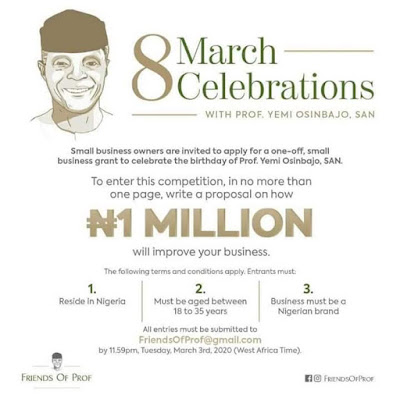 8 March Celebrations with Prof.Yemi Osinbajo 2020 | Win N1 Million Grant