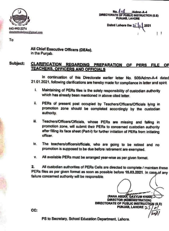 CLARIFICATION REGARDING PREPARATION OF PERs FILES OF EDUCATION DEPARTMENT EMPLOYEES