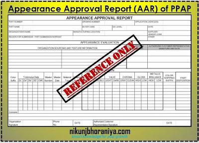 Appearance Approval Report (AAR) in PPAP