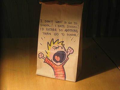 dibujo de caricatura en bolsa de papel