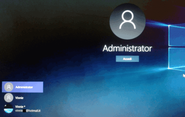 Account amministratore segreto di Windows nella schermata di login