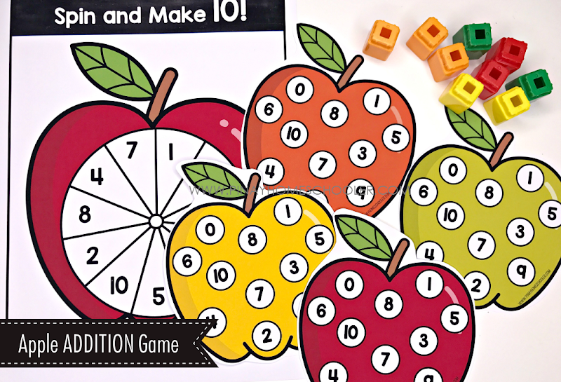 Addition Spinner Game - Apple Theme