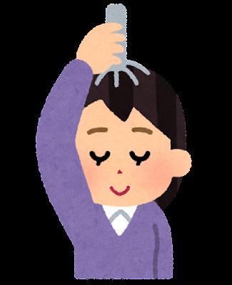 ヘッドマッサージャーを使う人のイラスト