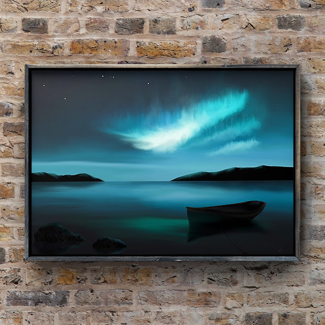 adrift under the northern lights, mark taylor artist, ocean art, landscape paintings,