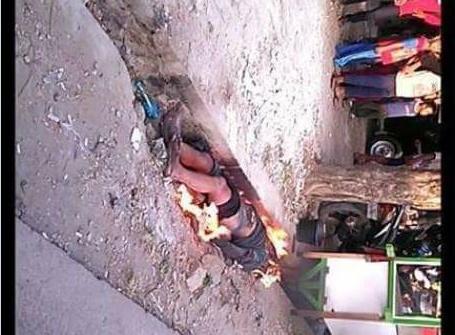 pria di bekasi dikira mencuri di bakar hidup-hidup