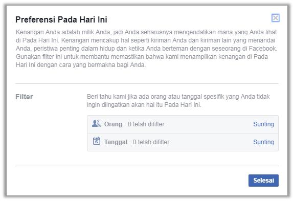 cara memfilter facebook kenangan