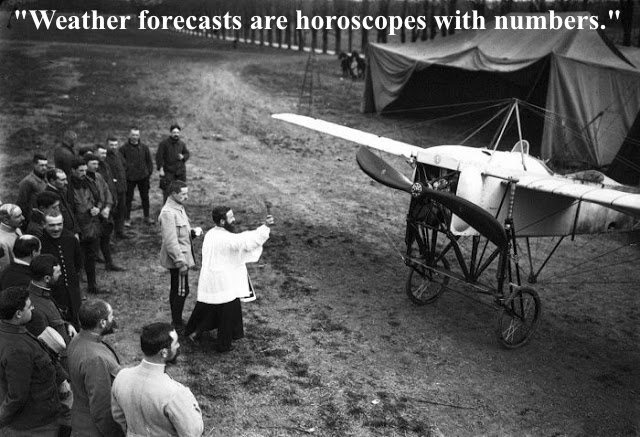 "Photo of a Catholic priest blessing an airplane in France, 1915. Several soldiers stand and watch. Quote ""Weather forecasts are horoscopes with numbers."" Dogfights and other stories of pilots. marchmatron.com"