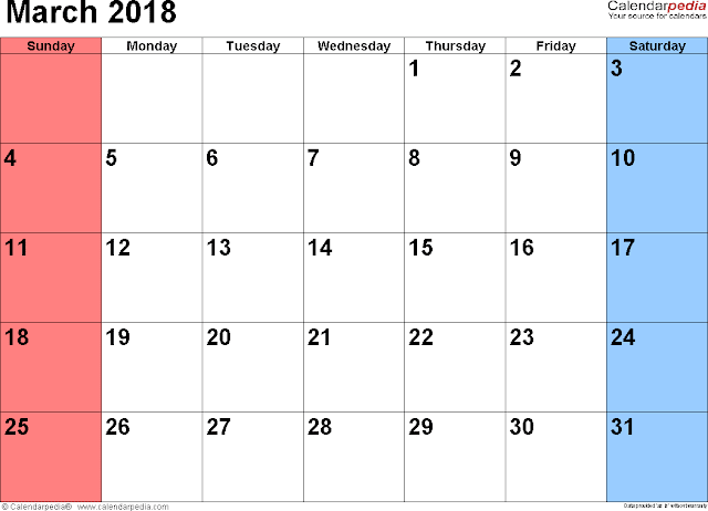 Blank March 2018 Calendar - Printable Templates