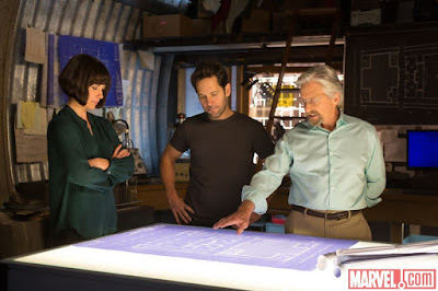 Michael Douglas as Dr. Hank Pym, Paul Rudd as Scott Lang, in Ant-Man, Directed by Peyton Reed