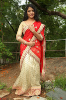 Akshara in Red Saree Golden Choli at LV Movie Makers Production No 1 Movie Opening ~  Exclusive 016.JPG