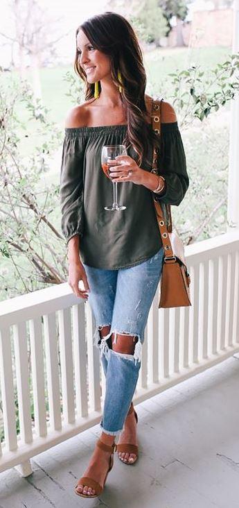 spring trends / off shoulder top + bag + boyfriend jeans + heels