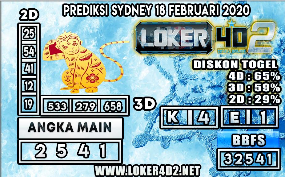 PREDIKSI TOGEL SYDNEY LOKER4D2 18 FEBRUARI 2020