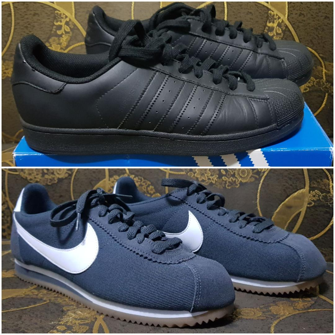 Nike Cortez Anthracite White, Adidas Superstar Foundation Triple Black, Adidas Superstar vs Nike Cortez