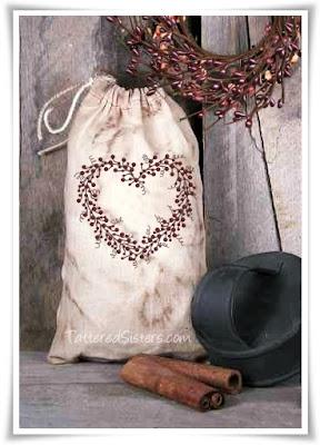 Grungy Primitive Pip Berries Heart Muslin Bag Tattered Sisters