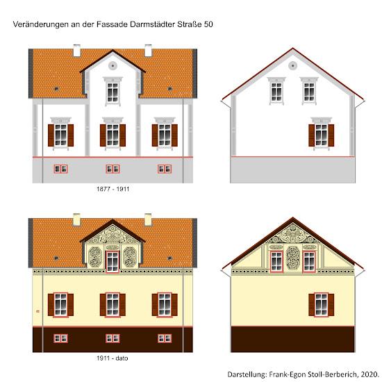 Bensheimer Häuser - damals und heute - Vergleich der ursprünglichen, klassizistischen Fassade der Darmstädter Straße 50 von 1877, die 1911 in eine von Joseph Stoll  gestaltete Jugendstilfassade in Sgraffito-Putz Technik  umgewandelt wurde.