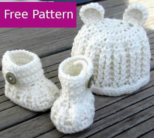 Baby Hat & Booties Set - Free Pattern