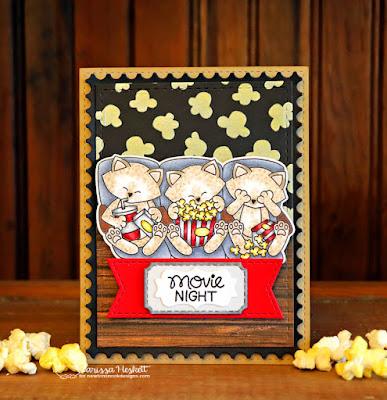 Movie Night by Larissa Heskett for Newton's Nook Designs using Newton's Movie Night, Popcorn Stencil, Frames & Flags Die, Framework Die