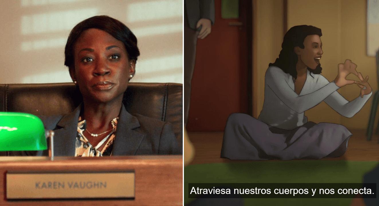 La actriz sorda Natasha Ofili en la serie The Politician y en el personaje de animación de la serie Undone