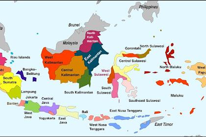 Peta 34 Provinsi di Indonesia Lengkap dan Ibukotanya
