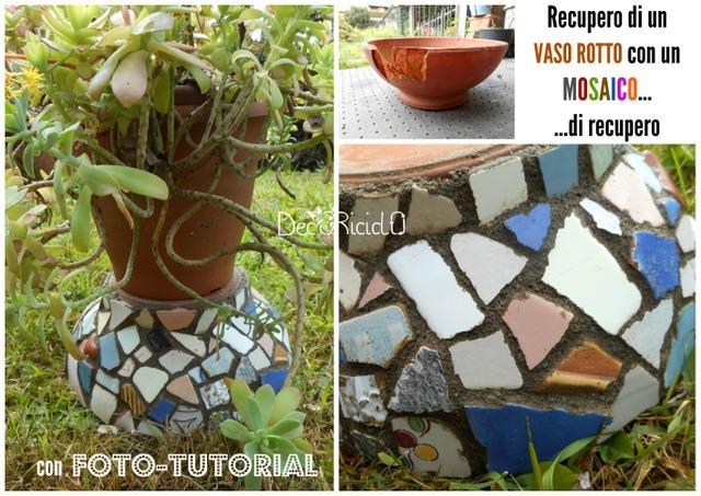 Decoriciclo recupero di un vaso rotto di terracotta con un