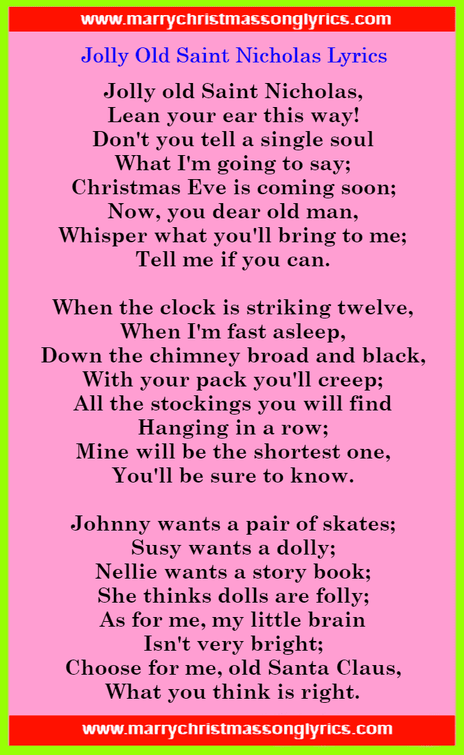Jolly Old Saint Nicholas Lyrics Image