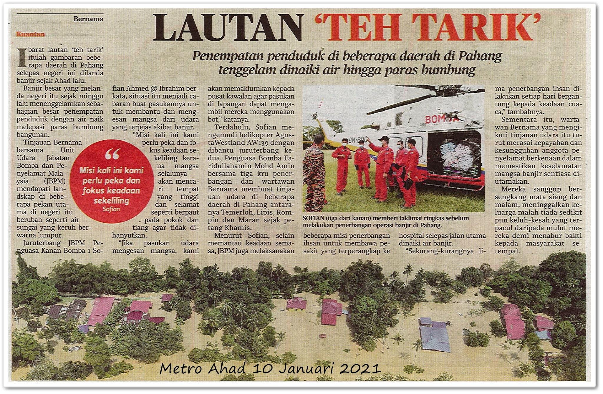 Lautan 'teh tarik' - Keratan akhbar Metro Ahad 10 Januari 2021