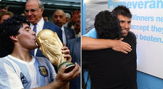 Manchester City Striker, Sergio Aguero Pays Tribute To His Former Father-in-law, Diego Maradona