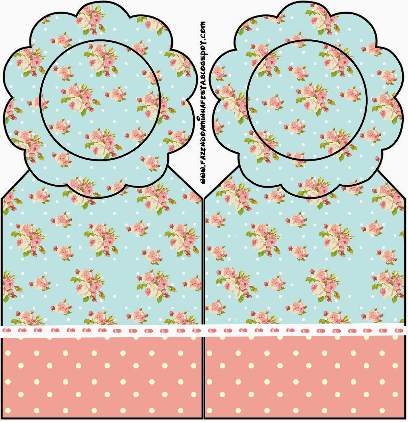Marcapaginas para Imprimir Gratis de Shabby Chic en Rosa y Celeste.