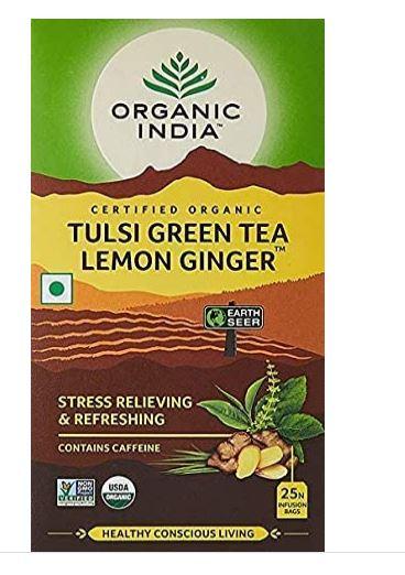Organic India Tulsi Green Tea Lemon Ginger 25 Tea bag
