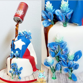 Texas Flag Blue Bonnet Cake