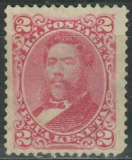 Hawaii 1883  2 Cents Lilac Rose King Kalakaua