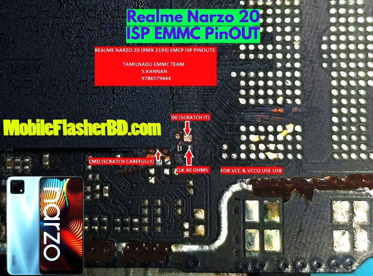 Repair Realme Narzo 20 ISP PinOUT EMMC Jumper Ways   Test Point