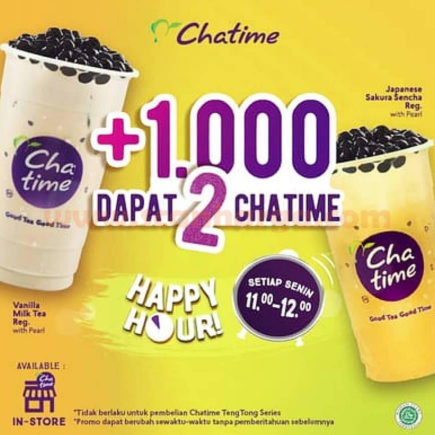Promo Chatime Tambah + Rp 1.000 Dapat 2 Chatime Happy Hour Setiap Senin november 2020