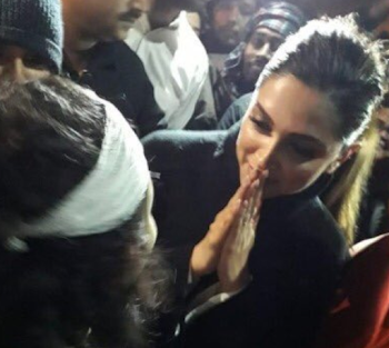 Actress Deepika Padukone at #JNUCampus to express solidarity with students after Sunday's violence.