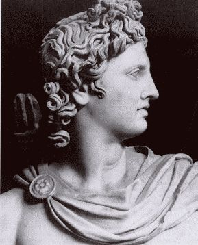 Apollo, Greek God of the sun, prophecy, light, poetry and music, son of Zeus , twin of Artemis.