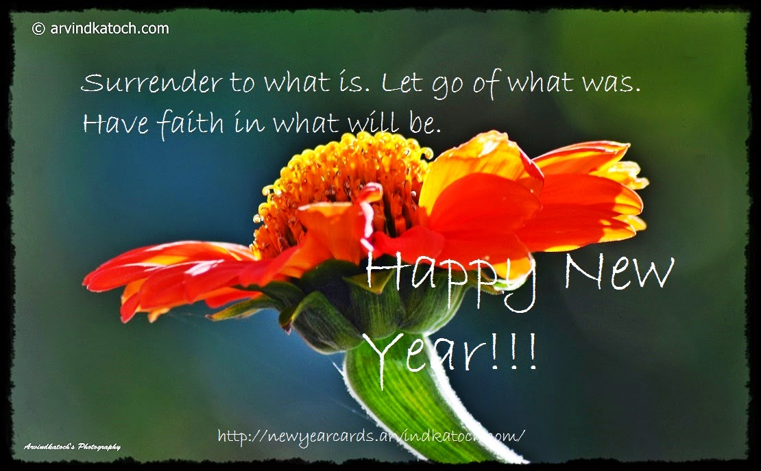 surrender, faith, let go, happy new year, new year card