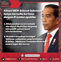 Tolak Bertemu Jokowi, BEM Seluruh Indonesia Ajukan 2 Syarat Berat