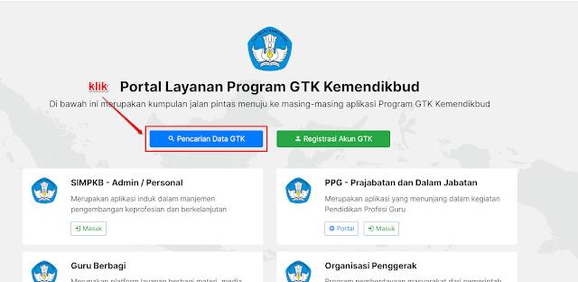 Pencarian Data GTK di portal https://gtk.belajar.kemdikbud.go.id/