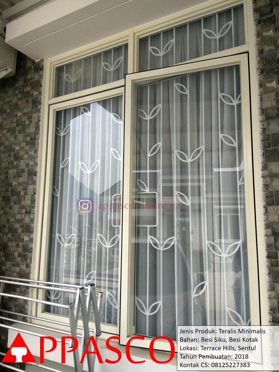 Teralis Motif Daun Bunga Model Minimalis Modern Besi Siku dan Kotak di Terrace Hills