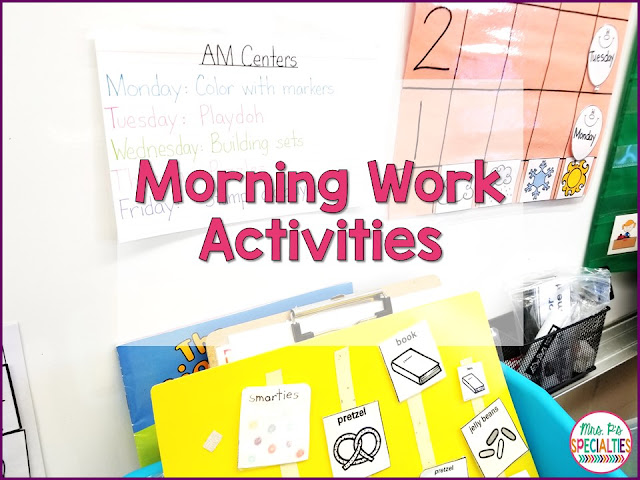 Morning work activities can be a great time to build in social skills and fine motor in a routine way. It doesn't have to be worksheets and it doesn't have to be extra prep for you! I use morning work as a way to prime students for the rest of the day. We spend our day integrating social skills, fine motor and language, so I wanted to start their school day in a way that prepared students to meet the expectations.