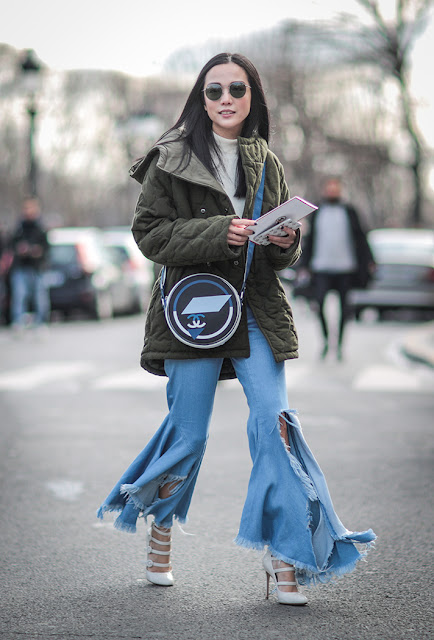 cropped denim, fringe jeans, fall 2016, street style, spring 2016, trends, fashion week, NYFW, PFW, LFW, new york fashion week, paris fashion week, london fashion week