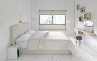 White monochrome bedroom decor