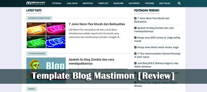 Review Template Blog yang dipakai Mastimon