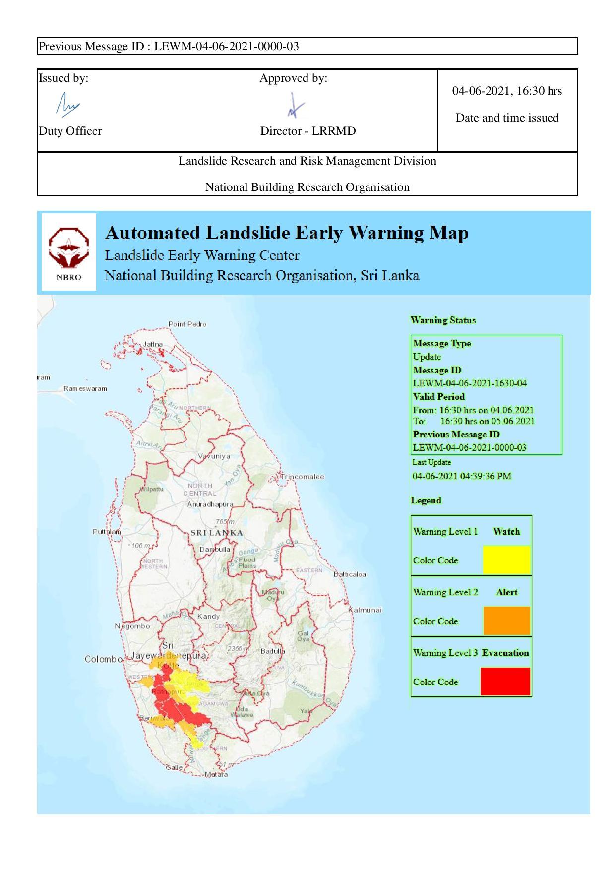 Landslides warning