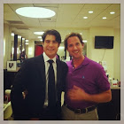 Actor Alex Sirvent gets hair styled with Billy Lowe in Beverly Hills